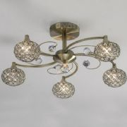 Cara 5 Light in Antique Brass and Crystal - DIYAS IL30945